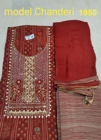 Wedding Wear Red Embroidery Work Modal Chanderi Dress Material