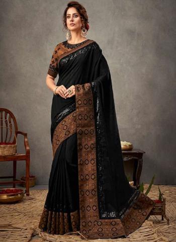 Party Wear Black Sequins Work Tusser Silk Saree