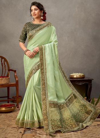 Party Wear Lime Green Sequins Work Tusser Silk Saree