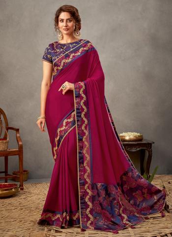 Party Wear Magenta Sequins Work Silk Georgette Saree