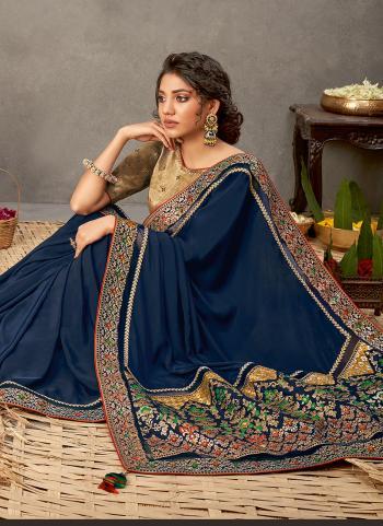Party Wear Navy Blue Thread Work Satin Silk Saree