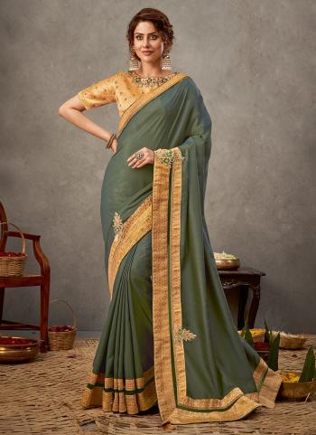 Party Wear Olive Sequins Work Tusser Silk Saree