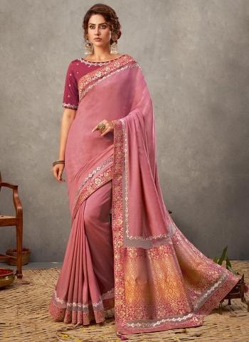 Party Wear Pink  Resham Work Tusser Silk Saree