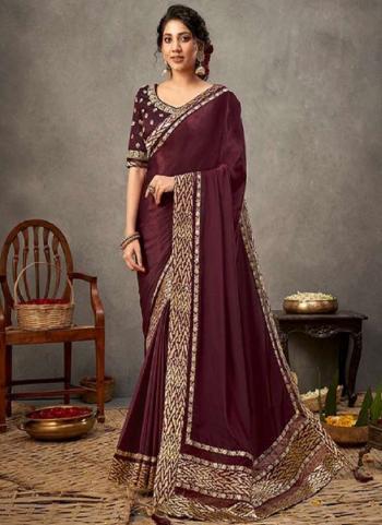 Party Wear Wine Resham Work Satin Silk Saree
