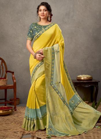 Party Wear Yellow Resham Work Tusser Silk Saree