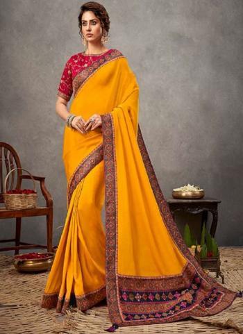 Party Wear Yellow Sequins Work Satin Silk Saree