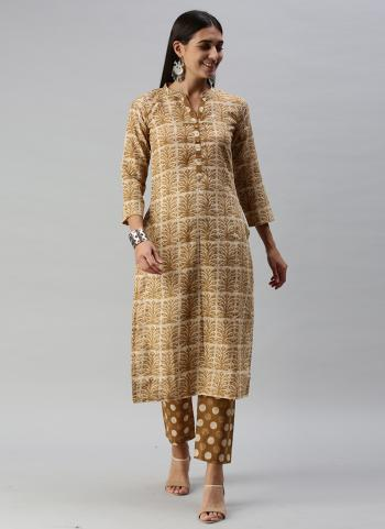 Regular Wear Beige Printed Work Ruby Cotton Kurti With Pant