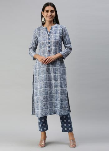 Regular Wear Blue Printed Work Ruby Cotton Kurti With Pant