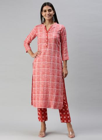 Regular Wear Pink Printed Work Ruby Cotton Kurti With Pant