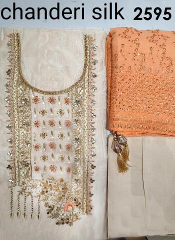 Festival Wear Cream Embroidery Work Chanderi Silk Salwar Suit