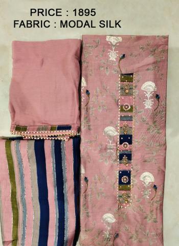 Festival Wear Pink Embroidery Work Modal Silk Salwar Suit