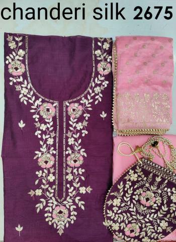 Festival Wear Wine Embroidery Work Chanderi Silk Salwar Suit