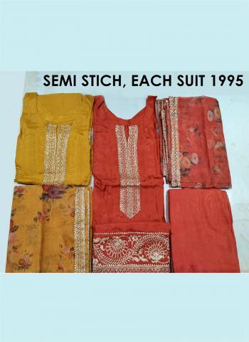 Festival Wear Yellow Embroidery Work Chanderi Silk Salwar Suit