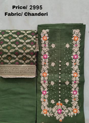 Wedding Wear Green Embroidery Work Chanderi Silk Salwar Suit