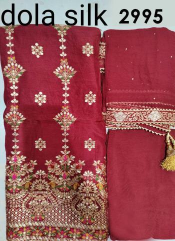 Wedding Wear Maroon Embroidery Work Dola Silk Salwar Suit