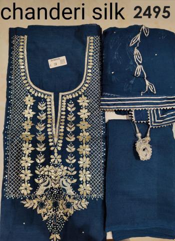 Wedding Wear Navy Blue Embroidery Work Chanderi Silk Salwar Suit