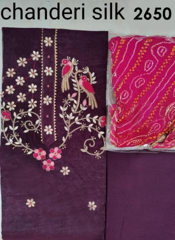 Wedding Wear Wine Embroidery Work Chanderi Silk Salwar Suit