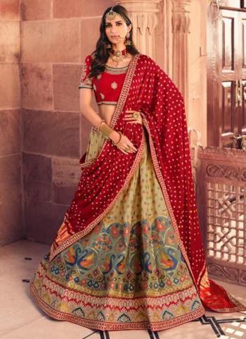 Bridal Wear Beige Weaving Work Silk Lehenga Choli