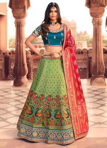 Bridal Wear Light Green Weaving Work Silk Lehenga Choli