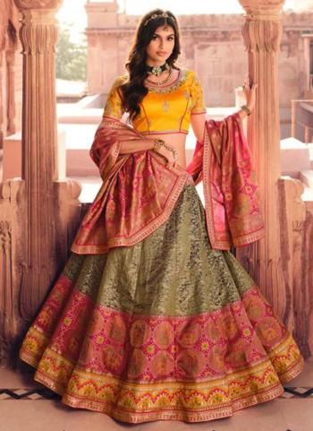 Bridal Wear Multi Color Weaving Work Silk Lehenga Choli