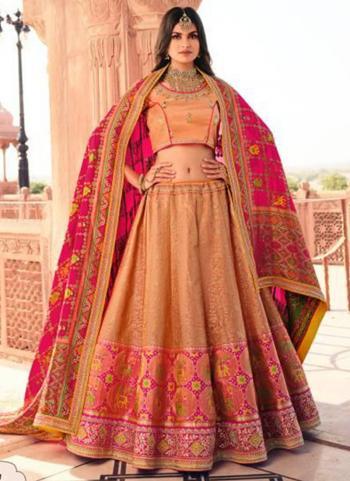 Bridal Wear Peach Weaving Work Silk Lehenga Choli