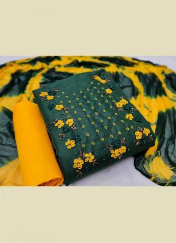 Casual Wear Bottle Green Hand Work Cotton Dress Material