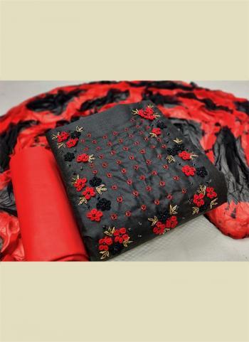 Casual Wear Dark Grey Hand Work Cotton Dress Material