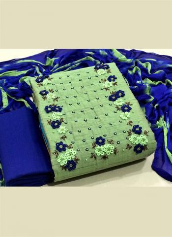 Casual Wear Pista Green Hand Work Cotton Dress Material