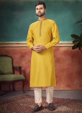 Festival Wear Yellow Embroidery Work Magic Cotton Kurta