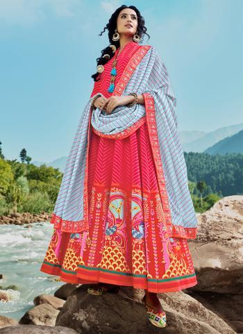 Party Wear Red Digital Printed Work Killer Silk Readymade Salwar Suit