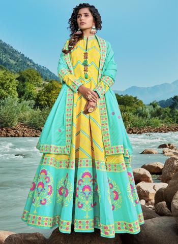 Party Wear Yellow Digital Printed Work Killer Silk Readymade Salwar Suit