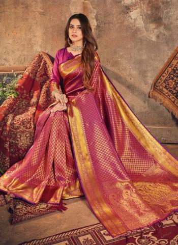 Traditional Wear Purple Weaving Work Silk Saree