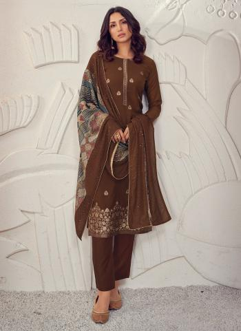 Party Wear Brown Sequins Work Pure Muslin Straight Suit