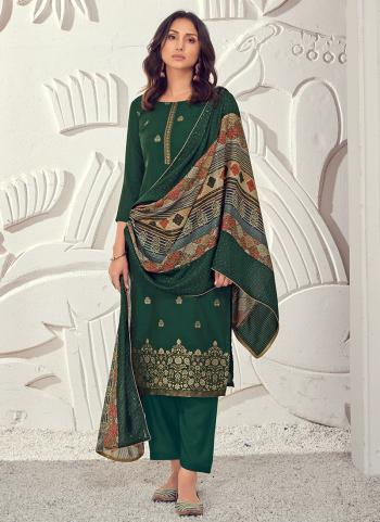 Party Wear Green Sequins Work Pure Muslin Straight Suit