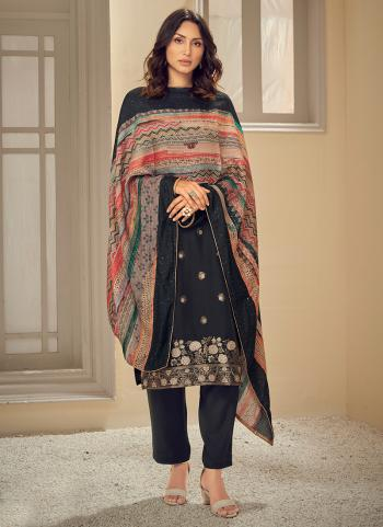 Traditional Wear Black Sequins Work Pure Muslin Straight Suit
