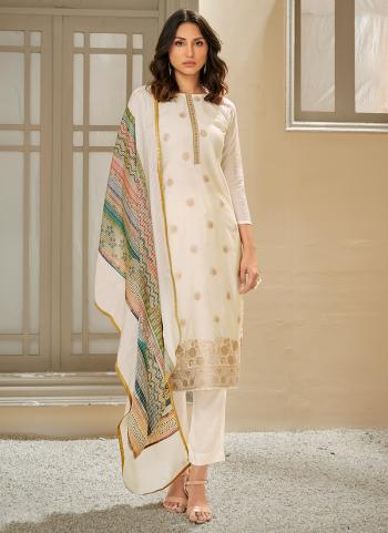 Traditional Wear White Sequins Work Pure Muslin Straight Suit