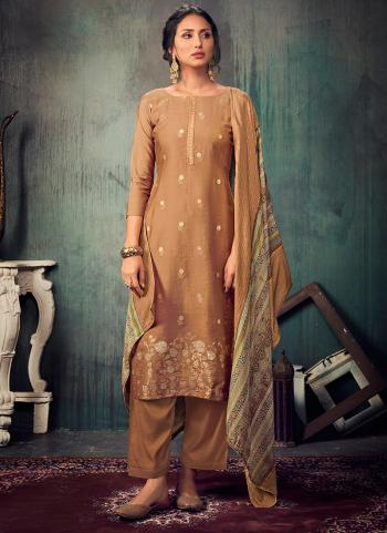Festival Wear Brown Sequins Work Pure Muslin Straight Suit