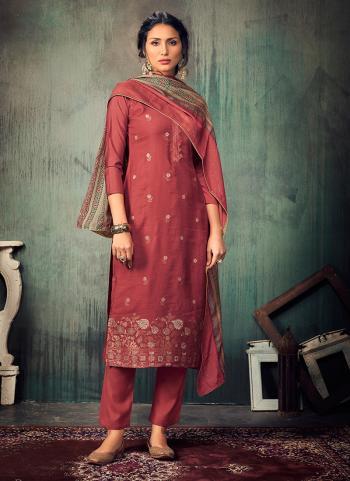 Festival Wear Dark Pink Sequins Work Pure Muslin Straight Suit