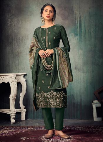 Festival Wear Green Sequins Work Pure Muslin Straight Suit
