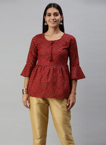 Daily Wear Red Printed Work Cotton Slub ToP