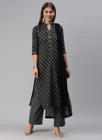 Daily Wear Black Printed Work Cotton Blend Straight Suit