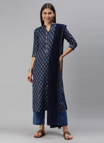 Daily Wear Navy Blue Printed Work Cotton Blend Straight Suit