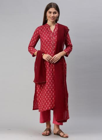 Daily Wear Pink Printed Work Cotton Blend Straight Suit