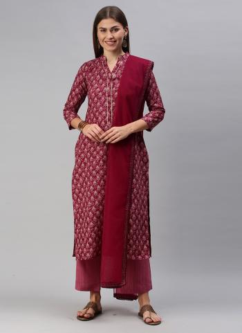 Daily Wear Purple Printed Work Cotton Blend Straight Suit