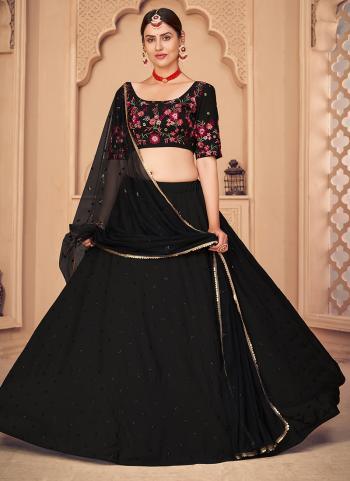Party Wear Black Sequins Work Georgette Lehenga Choli