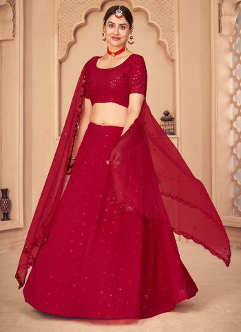 Party Wear Red Sequins Work Georgette Lehenga Choli