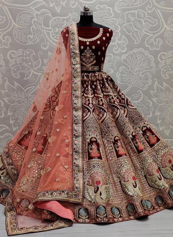 Bridal Wear Dark Maroon Mirror Work Velvet Lehenga Choli