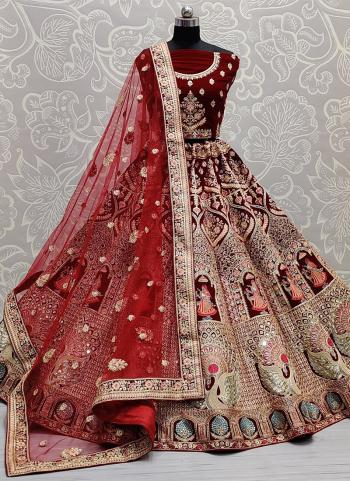 Bridal Wear Maroon Mirror Work Velvet Lehenga Choli