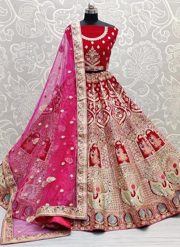 Bridal Wear Pink Mirror Work Velvet Lehenga Choli