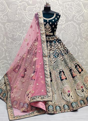Bridal Wear Rama Mirror Work Velvet Lehenga Choli